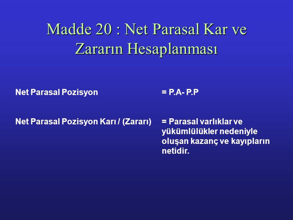Madde 20 : Net Parasal Kar ve Zararın Hesaplanması