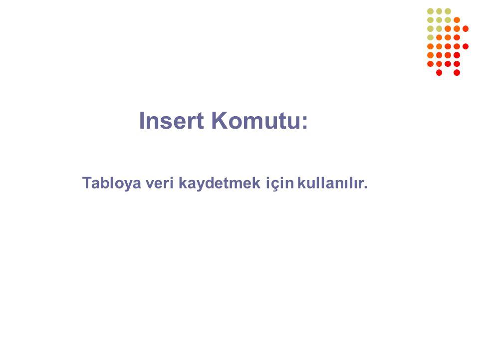 Insert Komutu: Tabloya veri kaydetmek için kullanılır.