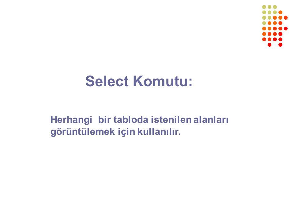 Select Komutu: Herhangi bir tabloda istenilen alanları görüntülemek için kullanılır.