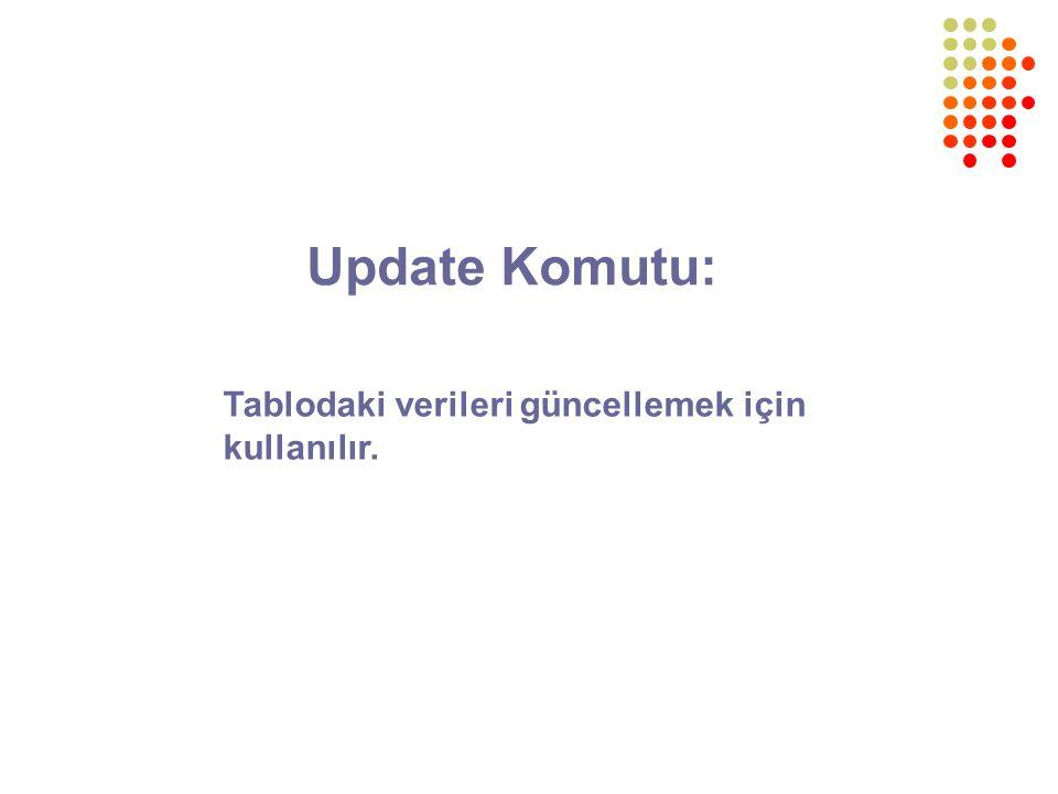 Update Komutu: Tablodaki verileri güncellemek için kullanılır.