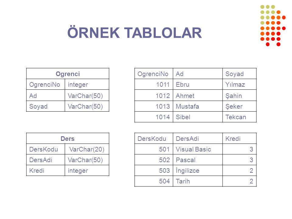 ÖRNEK TABLOLAR Ogrenci OgrenciNo Ad Soyad integer 1011 Ebru Yılmaz