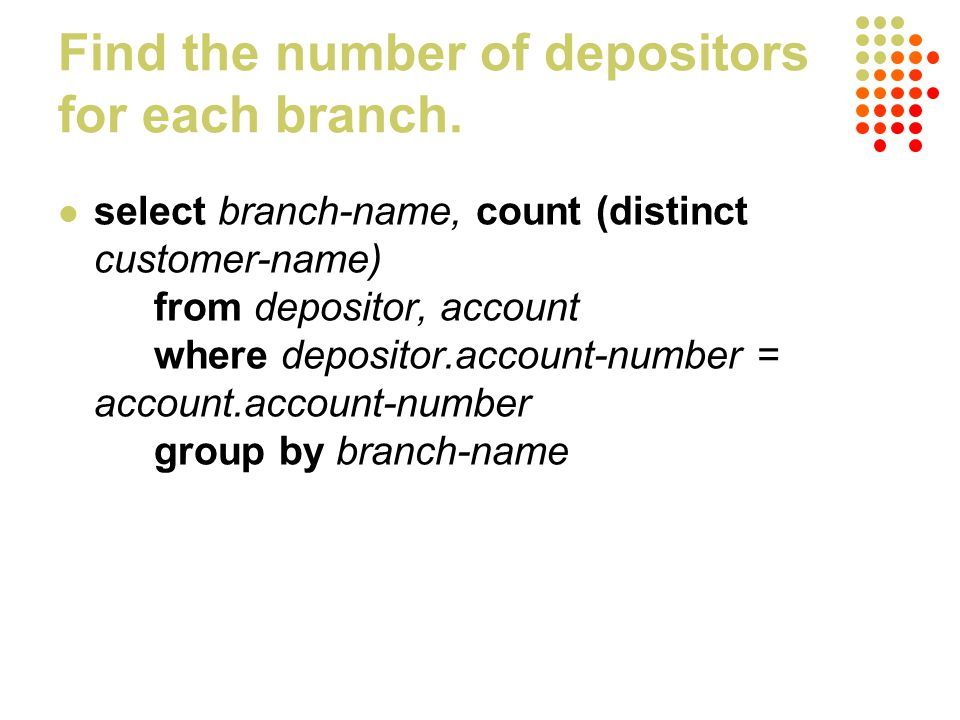 Find the number of depositors for each branch.