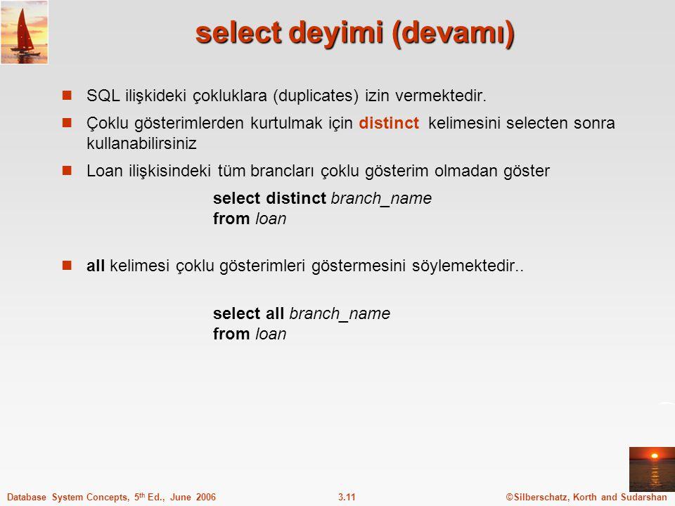 select deyimi (devamı)