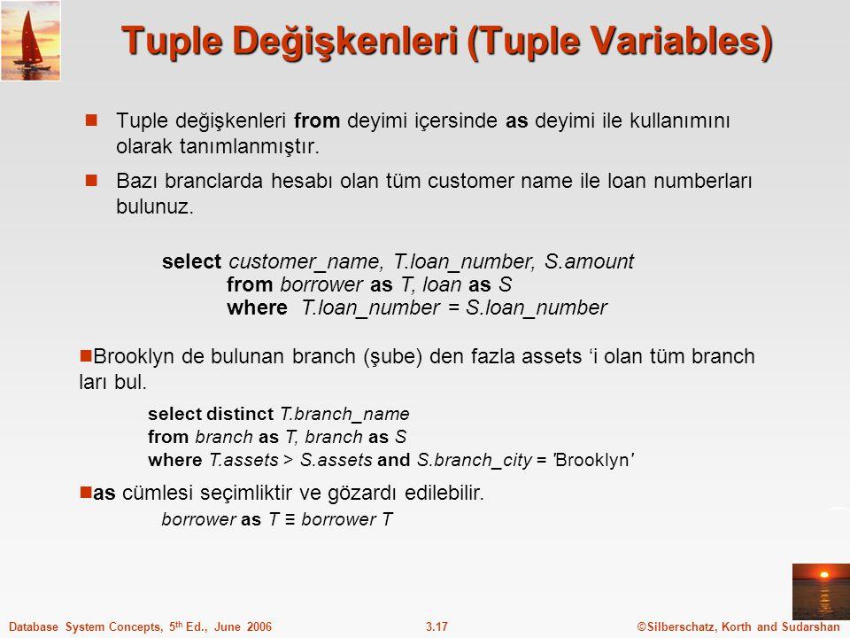 Tuple Değişkenleri (Tuple Variables)