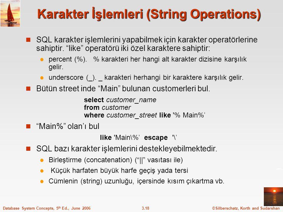 Karakter İşlemleri (String Operations)