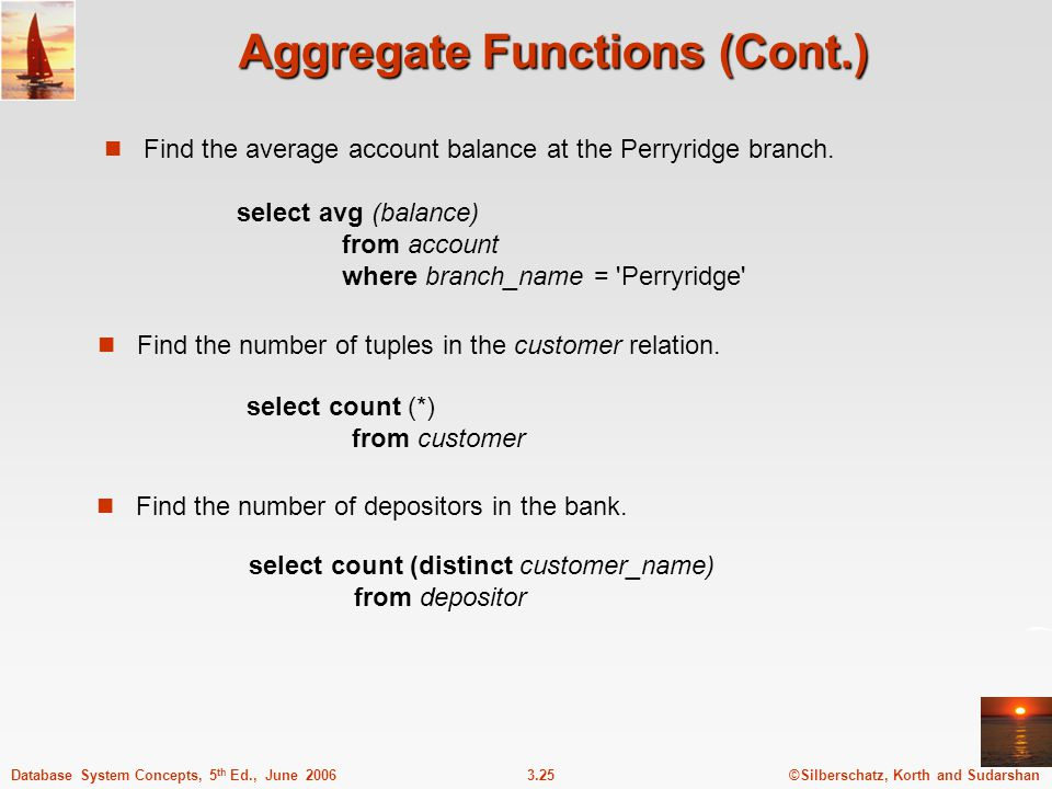 Aggregate Functions (Cont.)