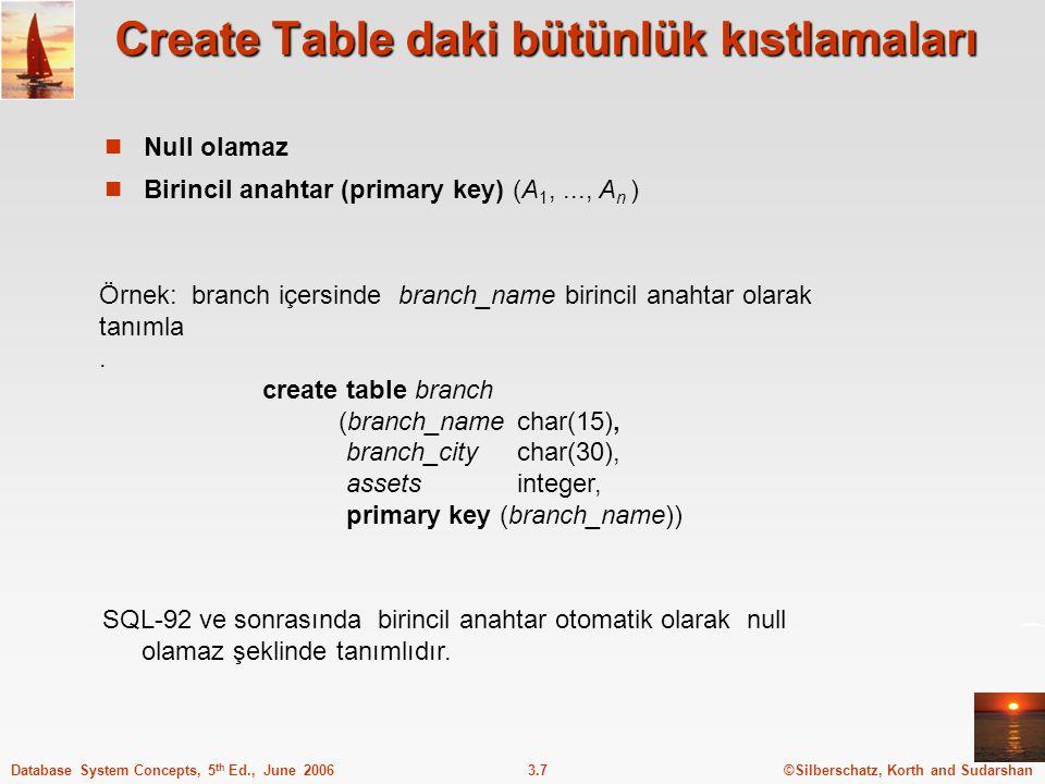 Create Table daki bütünlük kıstlamaları