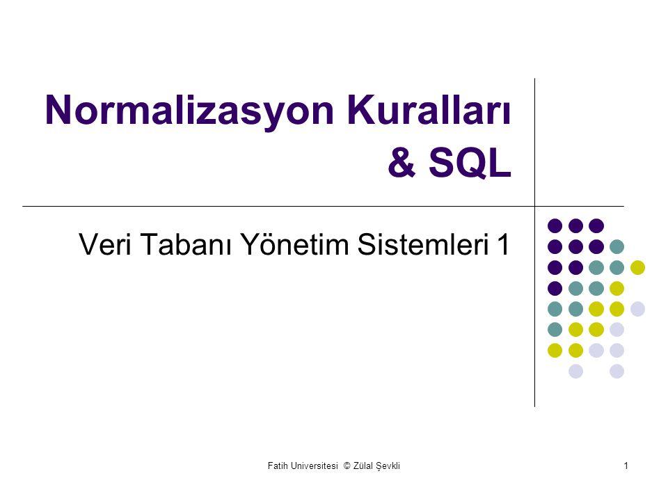 Normalizasyon Kuralları & SQL