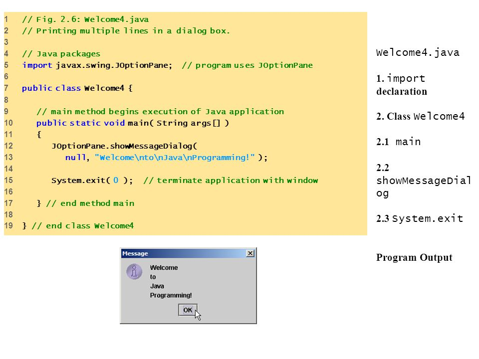 1 // Fig. 2.6: Welcome4.java 2 // Printing multiple lines in a dialog box // Java packages.