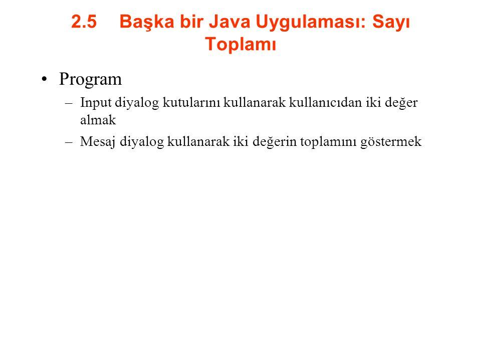 2.5 Başka bir Java Uygulaması: Sayı Toplamı