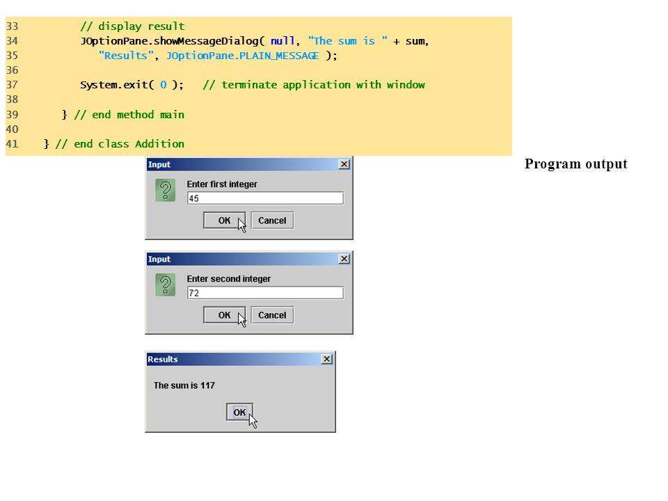 Program output 33 // display result