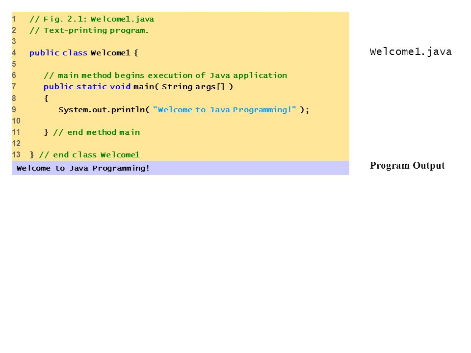 Welcome1.java Program Output