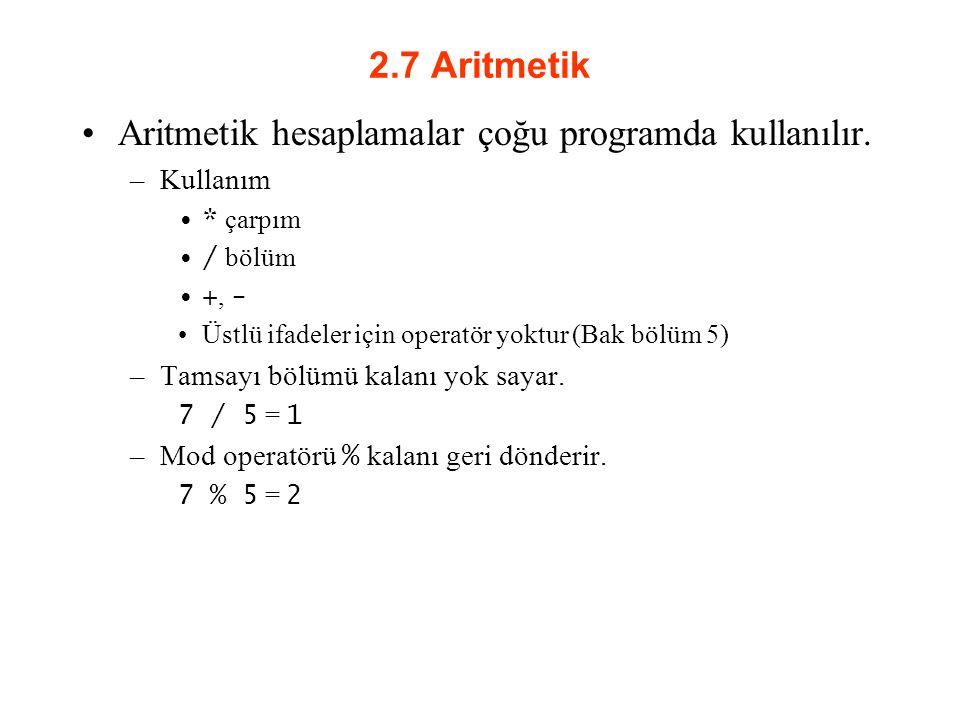 Aritmetik hesaplamalar çoğu programda kullanılır.