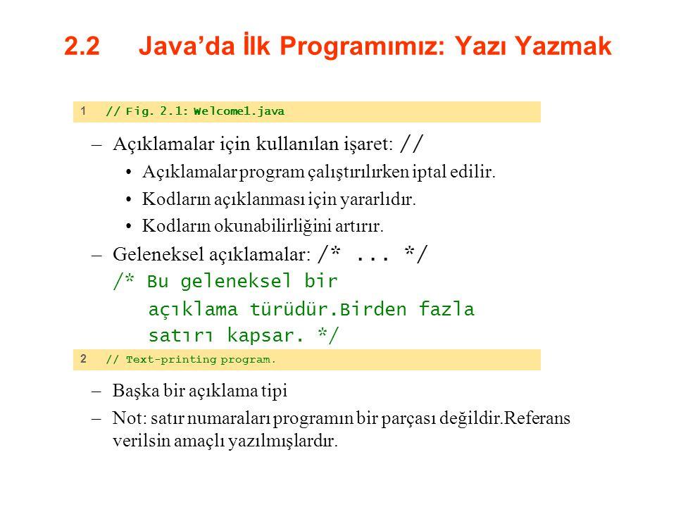 2.2 Java'da İlk Programımız: Yazı Yazmak