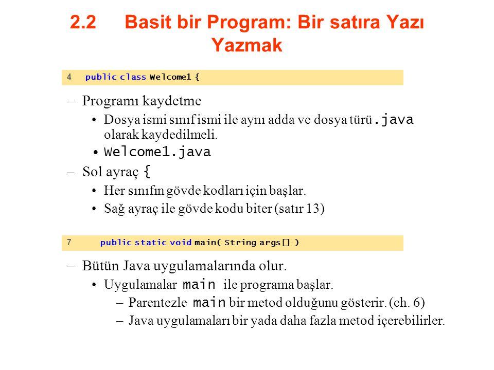 2.2 Basit bir Program: Bir satıra Yazı Yazmak