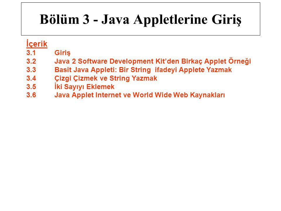 Bölüm 3 - Java Appletlerine Giriş