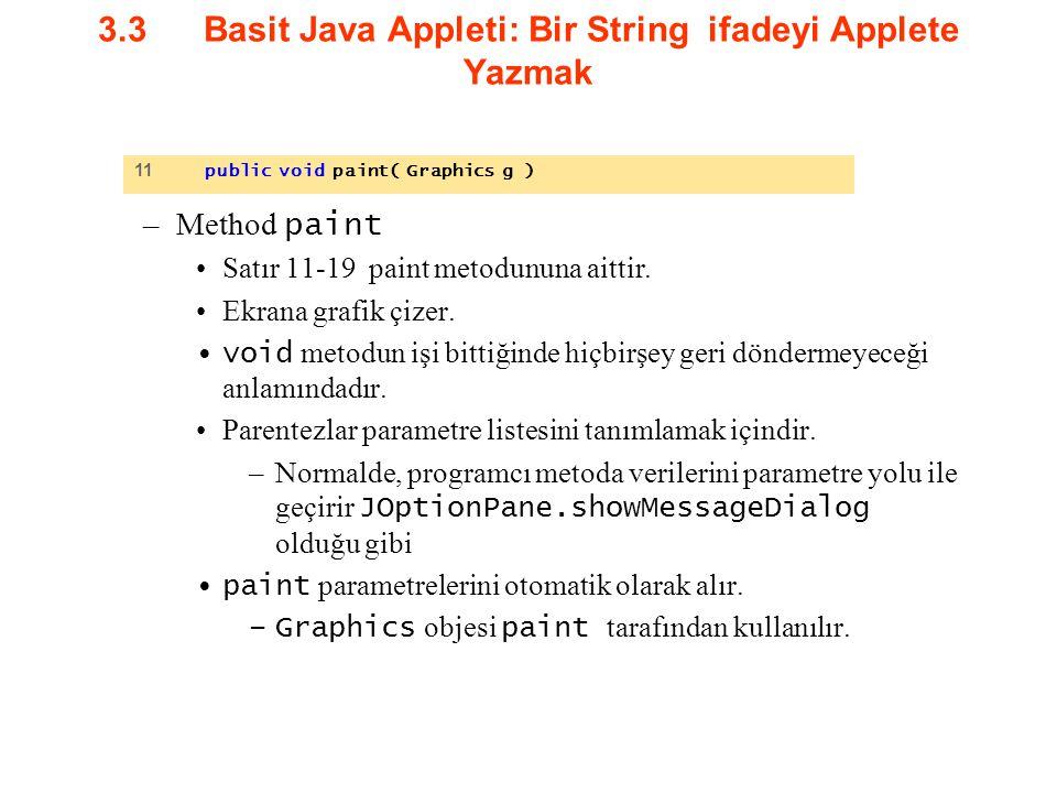 3.3 Basit Java Appleti: Bir String ifadeyi Applete Yazmak