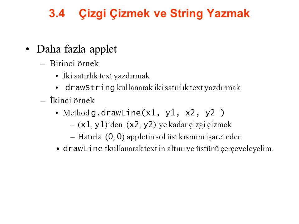 3.4 Çizgi Çizmek ve String Yazmak