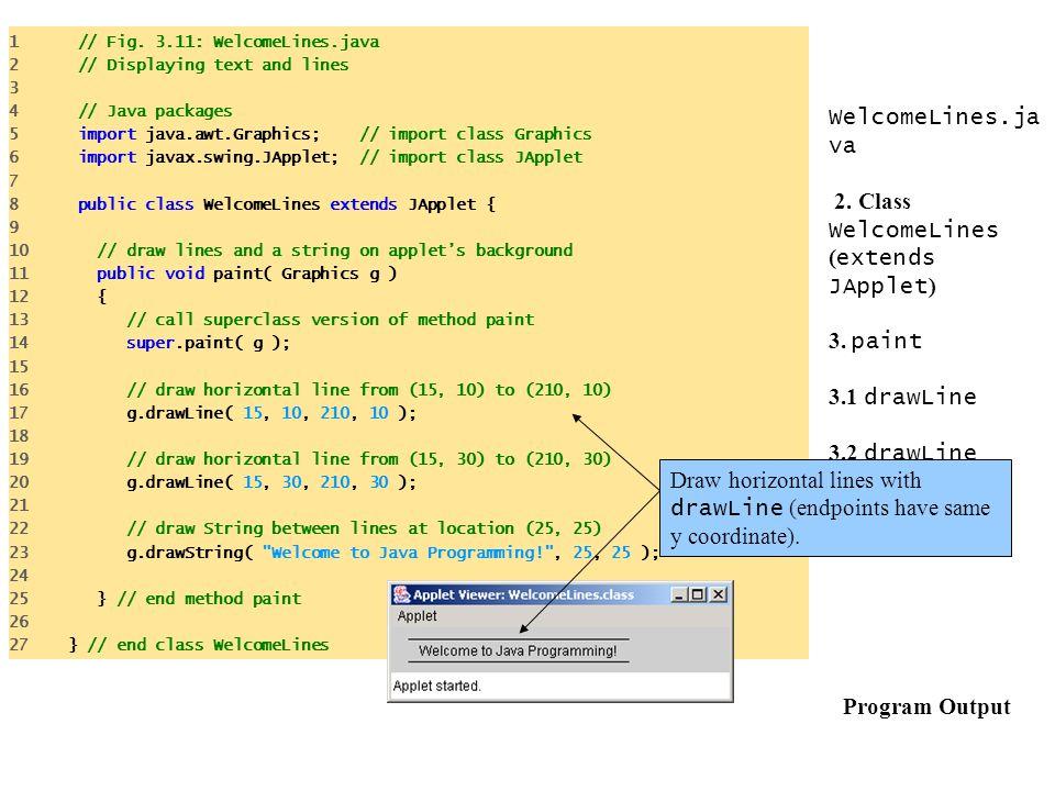 1 // Fig. 3.11: WelcomeLines.java