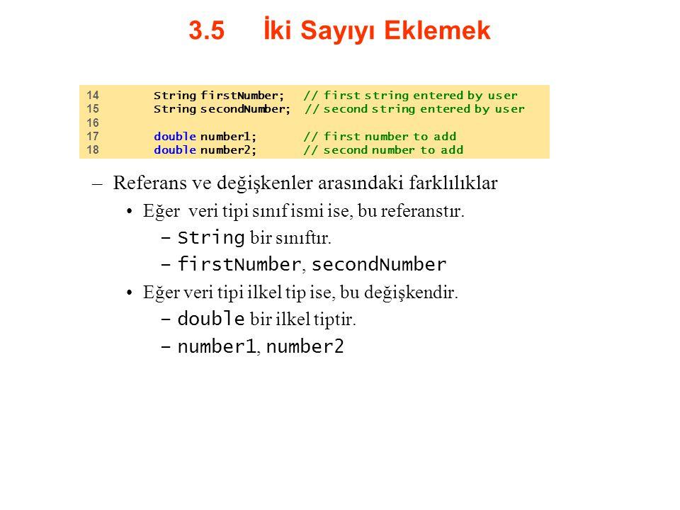 3.5 İki Sayıyı Eklemek Referans ve değişkenler arasındaki farklılıklar