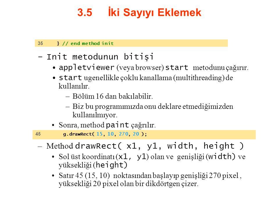 3.5 İki Sayıyı Eklemek Init metodunun bitişi