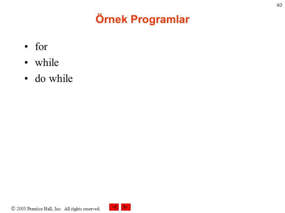 Örnek Programlar for while do while