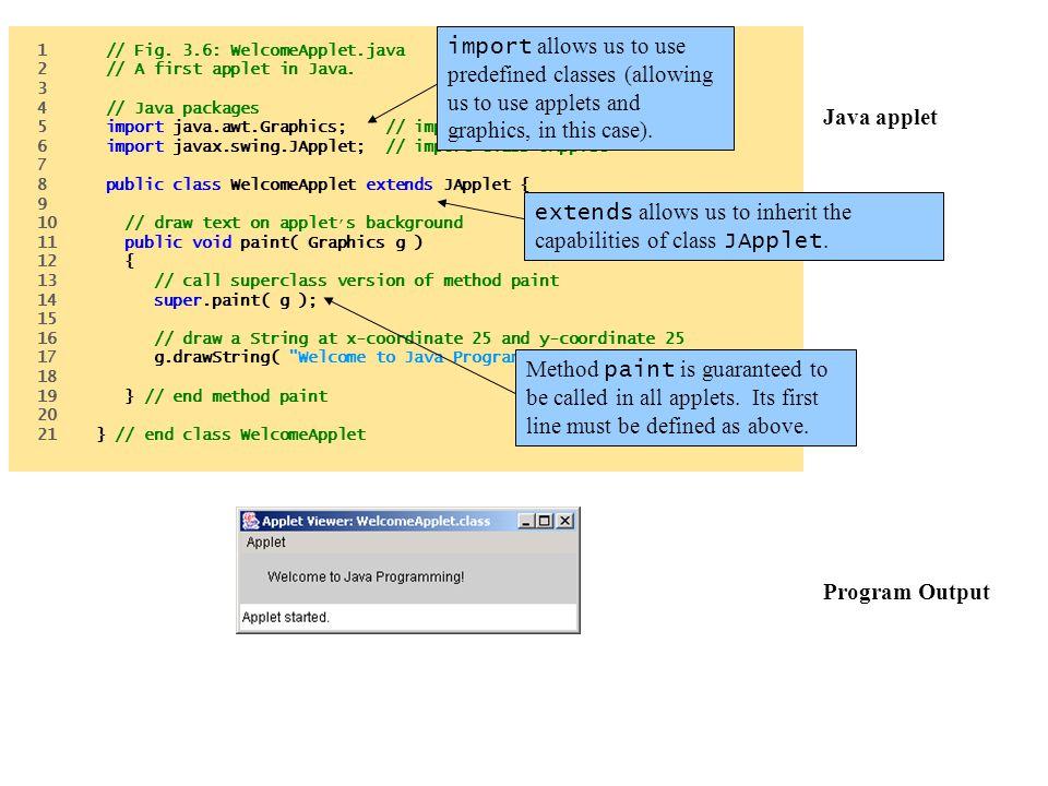 Java applet Program Output
