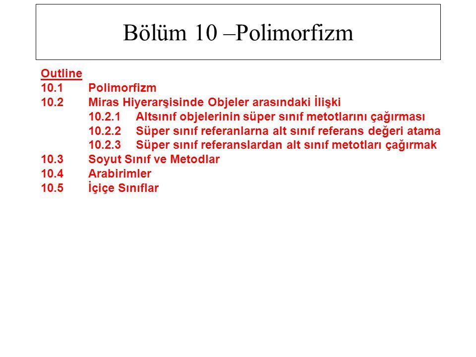 Bölüm 10 –Polimorfizm Outline 10.1 Polimorfizm