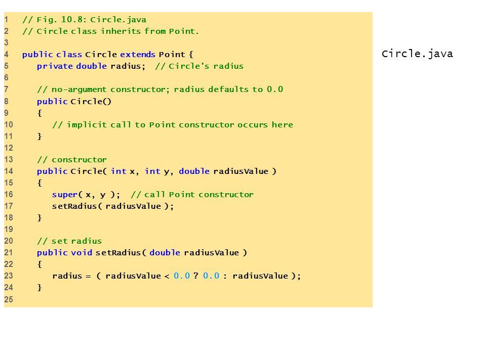 Circle.java 1 // Fig. 10.8: Circle.java