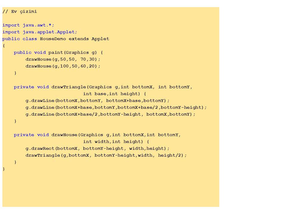// Ev çizimi import java.awt.*; import java.applet.Applet; public class HouseDemo extends Applet.