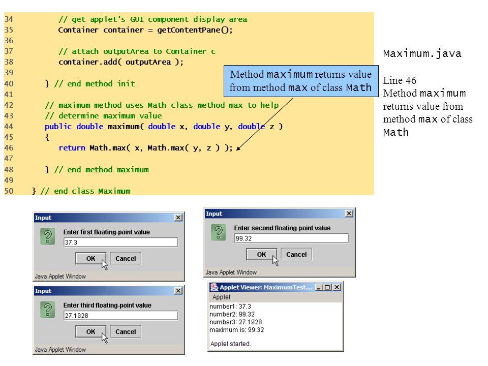 Method maximum returns value from method max of class Math