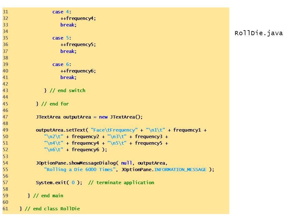 RollDie.java 31 case 4: 32 ++frequency4; 33 break; 34 35 case 5: