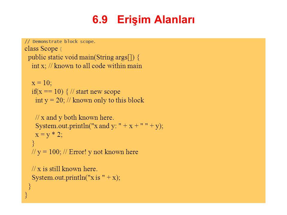 6.9 Erişim Alanları class Scope {