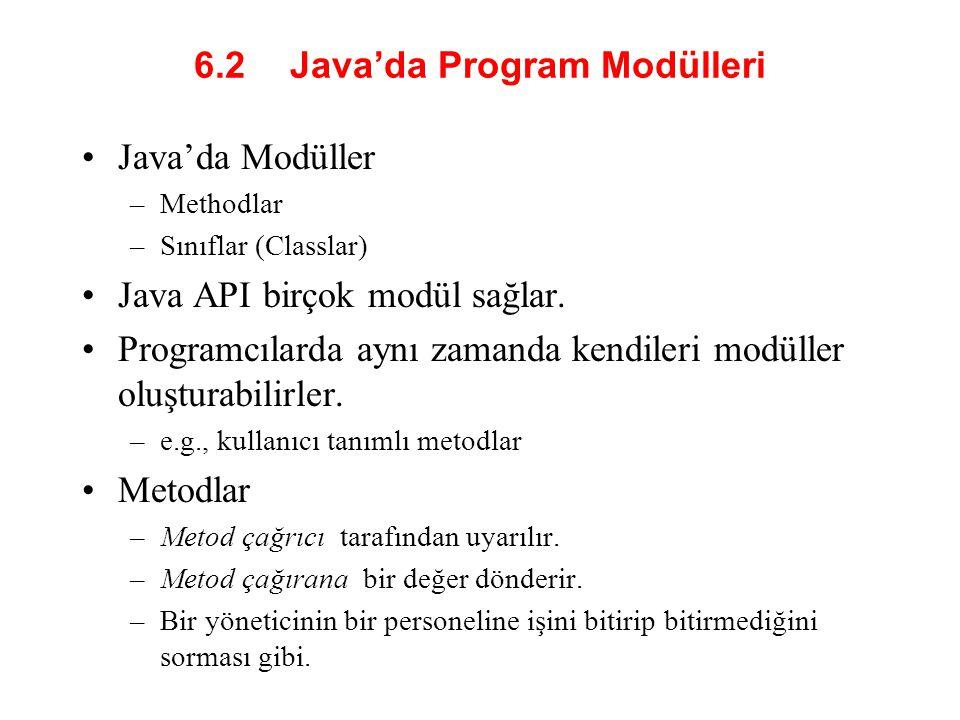 6.2 Java'da Program Modülleri
