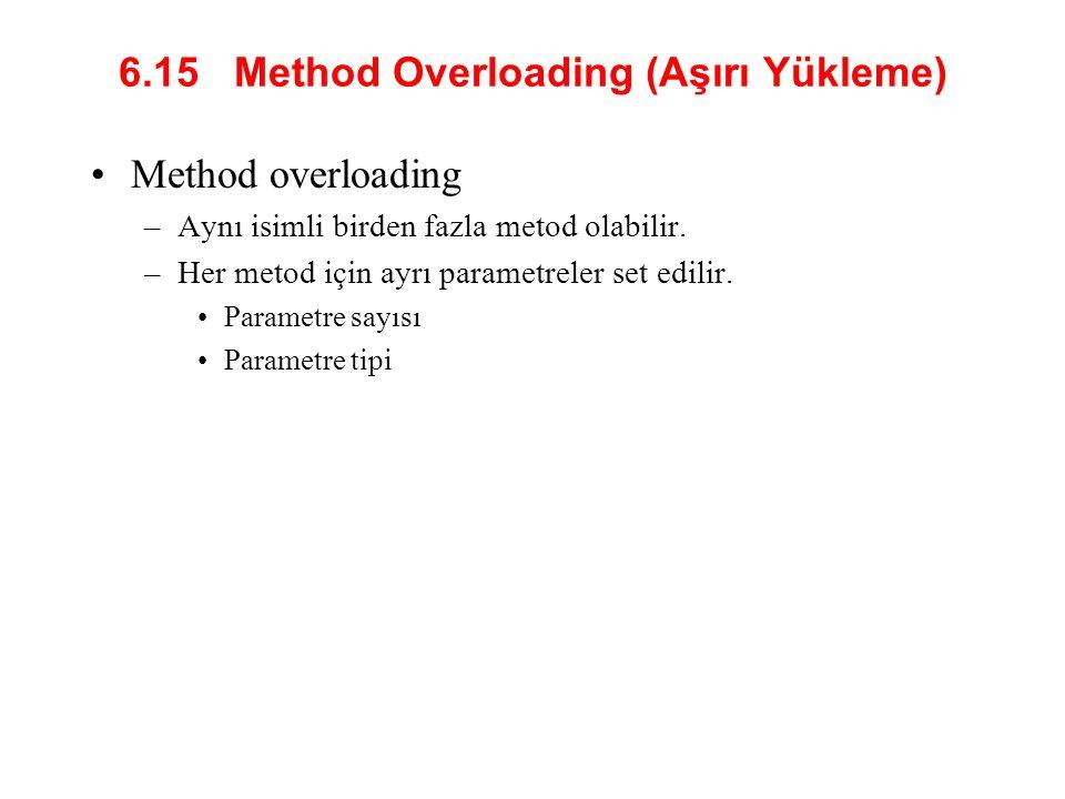 6.15 Method Overloading (Aşırı Yükleme)