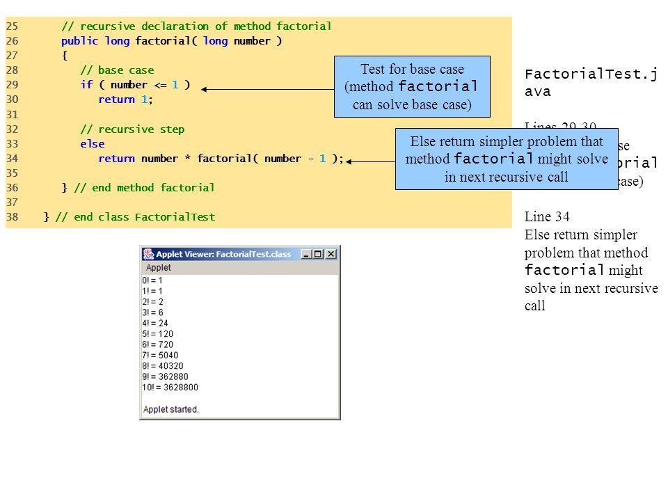 Test for base case (method factorial can solve base case)