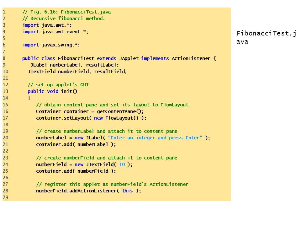 FibonacciTest.java 1 // Fig. 6.16: FibonacciTest.java