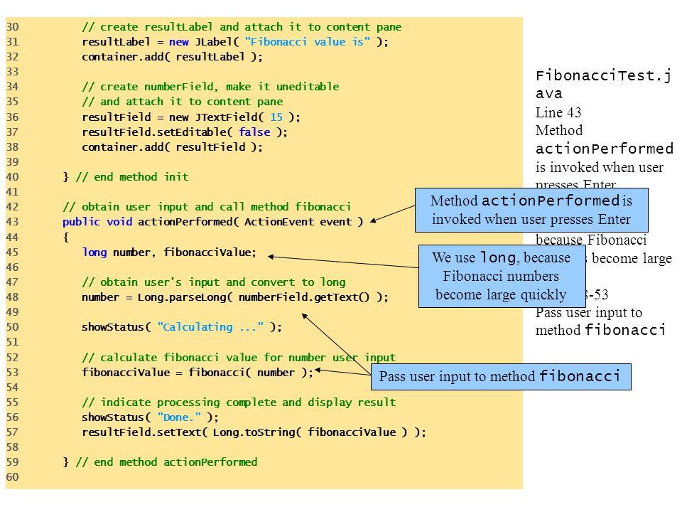 Method actionPerformed is invoked when user presses Enter