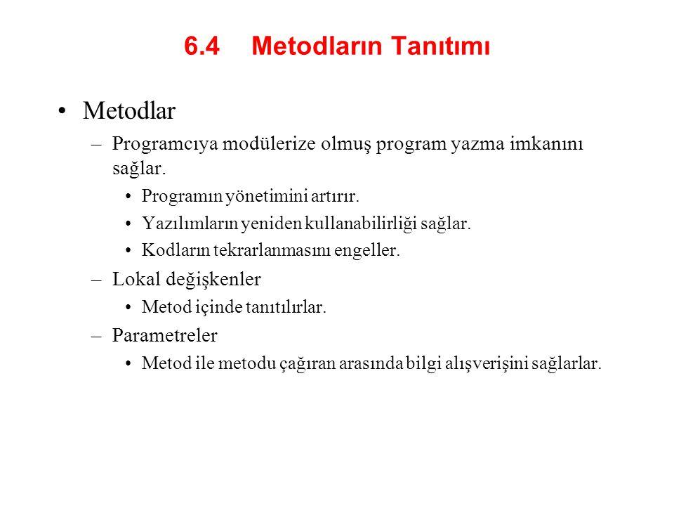 6.4 Metodların Tanıtımı Metodlar