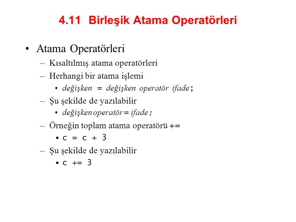 4.11 Birleşik Atama Operatörleri