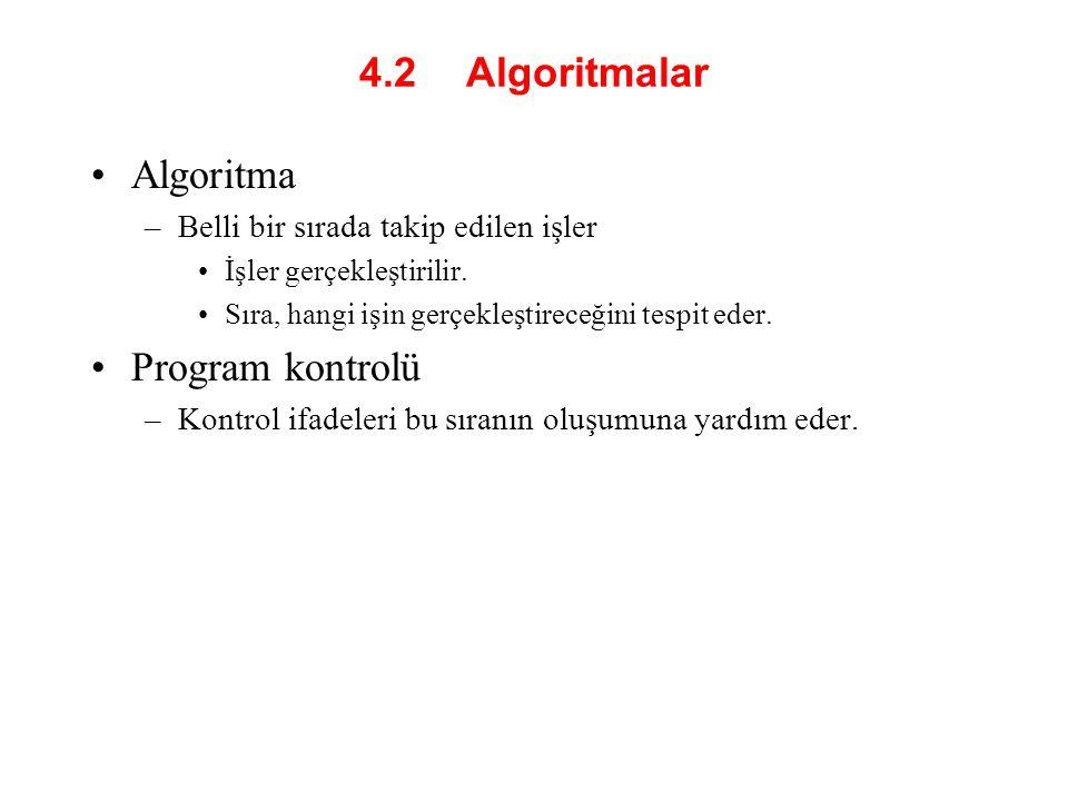 4.2 Algoritmalar Algoritma Program kontrolü