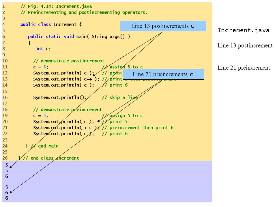Increment.java Line 13 postincrement Line 21 preincrement