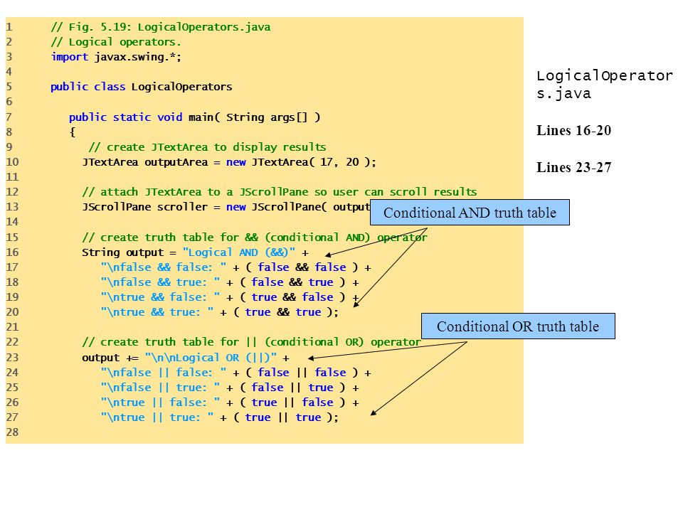 LogicalOperators.java Lines 16-20 Lines 23-27