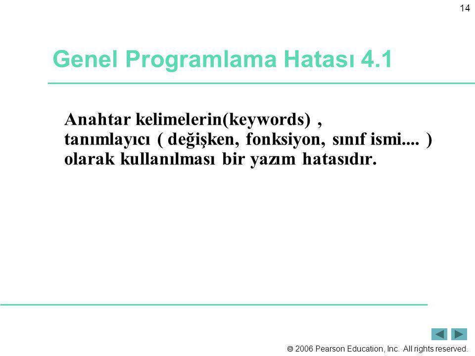 Genel Programlama Hatası 4.1