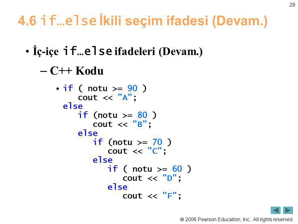 4.6 if…else İkili seçim ifadesi (Devam.)