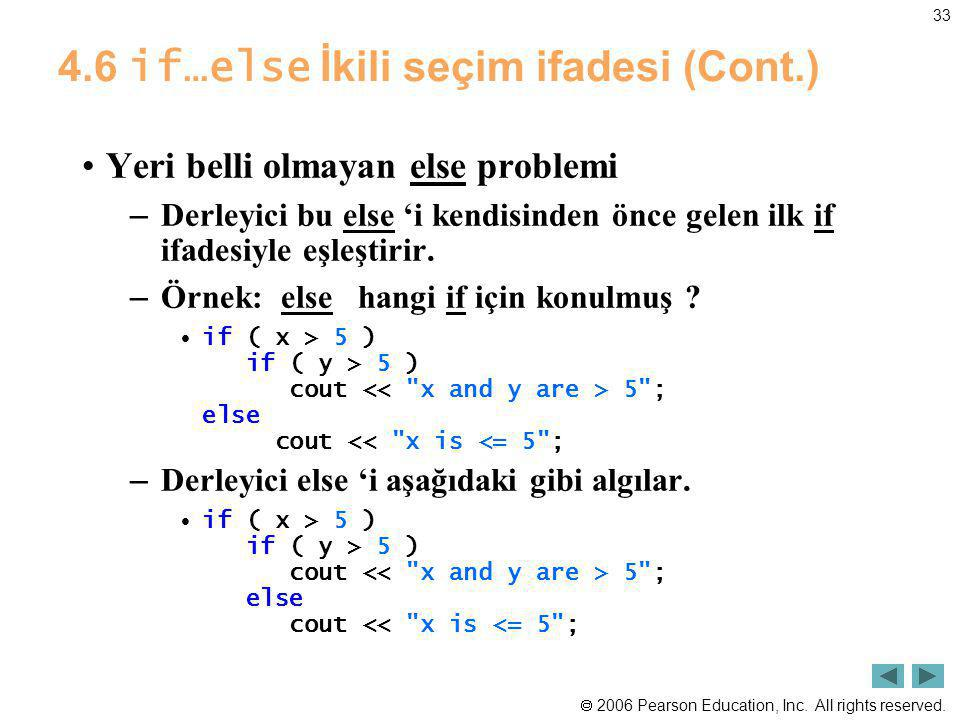 4.6 if…else İkili seçim ifadesi (Cont.)