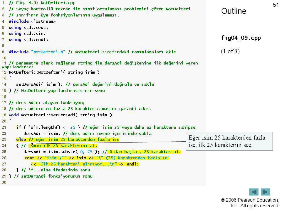 Outline fig04_09.cpp (1 of 3) Eğer isim 25 karakterden fazla ise, ilk 25 karakterini seç.