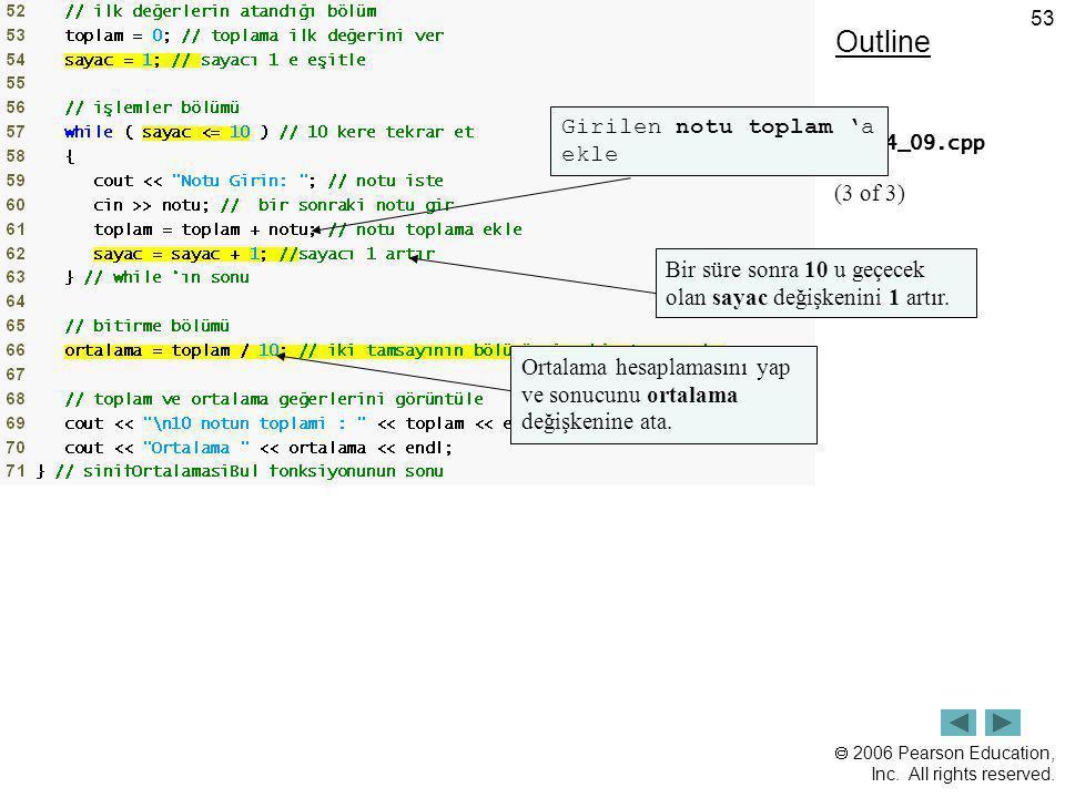 Outline Girilen notu toplam 'a ekle (3 of 3)