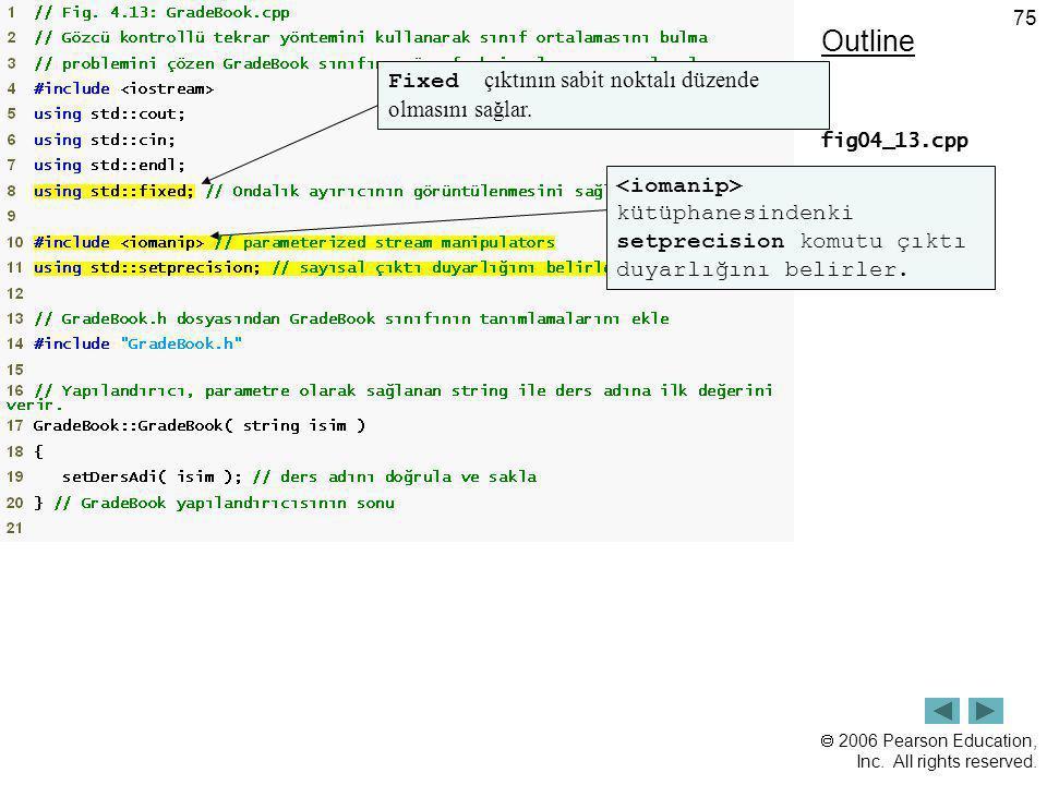 Outline Fixed çıktının sabit noktalı düzende olmasını sağlar. (1 of 4)