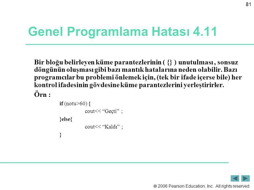Genel Programlama Hatası 4.11